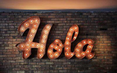 light up sign saying hola